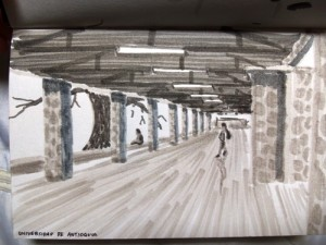 Colombia university travel sketch