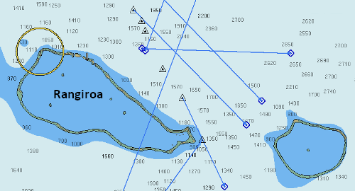 A charts of the Rangiroa channel in the Tuamotus, French Polynesia.